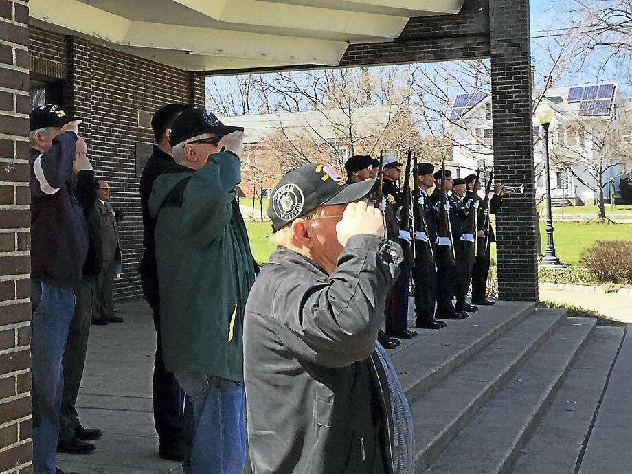 A ceremony was held Wednesday to honor local veterans of the Vietnam War in Torrington. Photo: BEN LAMBERT — The Register Citizen