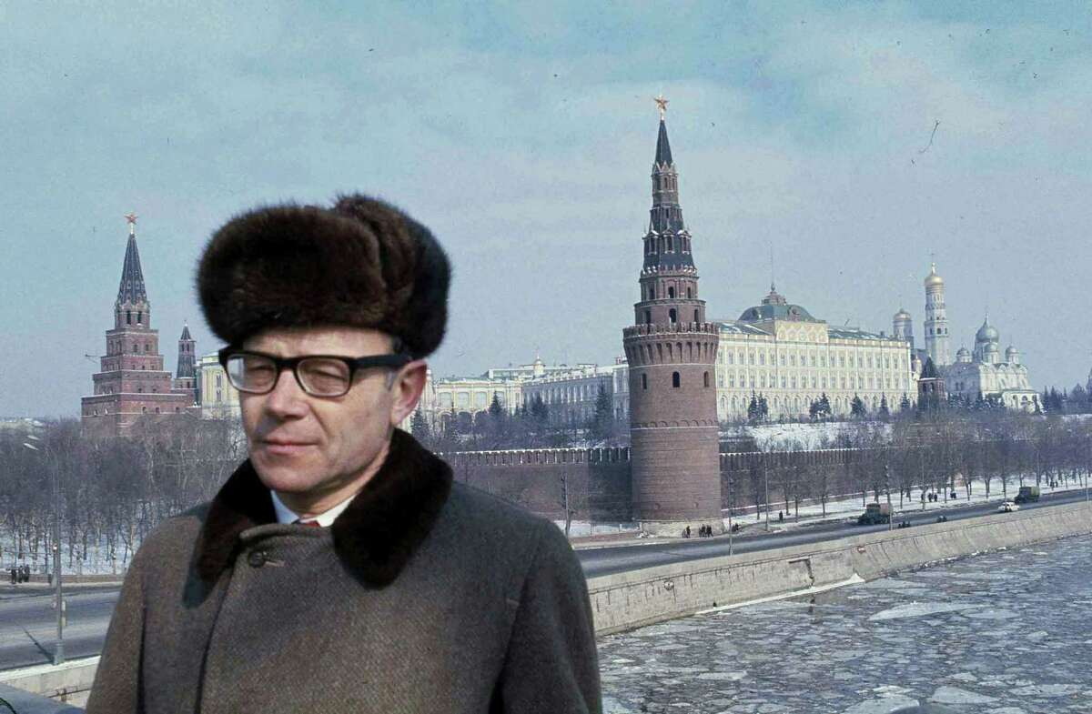 Former bureau chief for The Associated Press in Moscow Jack Bausman stands in Moscow in 1971. Bausman died Thursday, June 9, 2016, at a hospital in Stamford. He was 92.