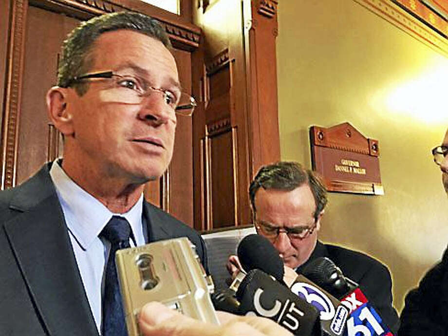 Gov. Dannel P. Malloy outside his state Capitol office in Hartford Wednesday Photo: Christine Stuart — CT News Junkie