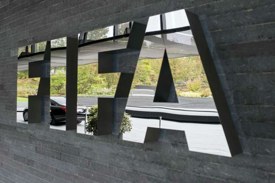 The FIFA logo is pictured prior to the FIFA Council meeting in Zurich, Switzerland on Friday. Photo: Ennio Leanza — Keystone Via AP  / KEYSTONE