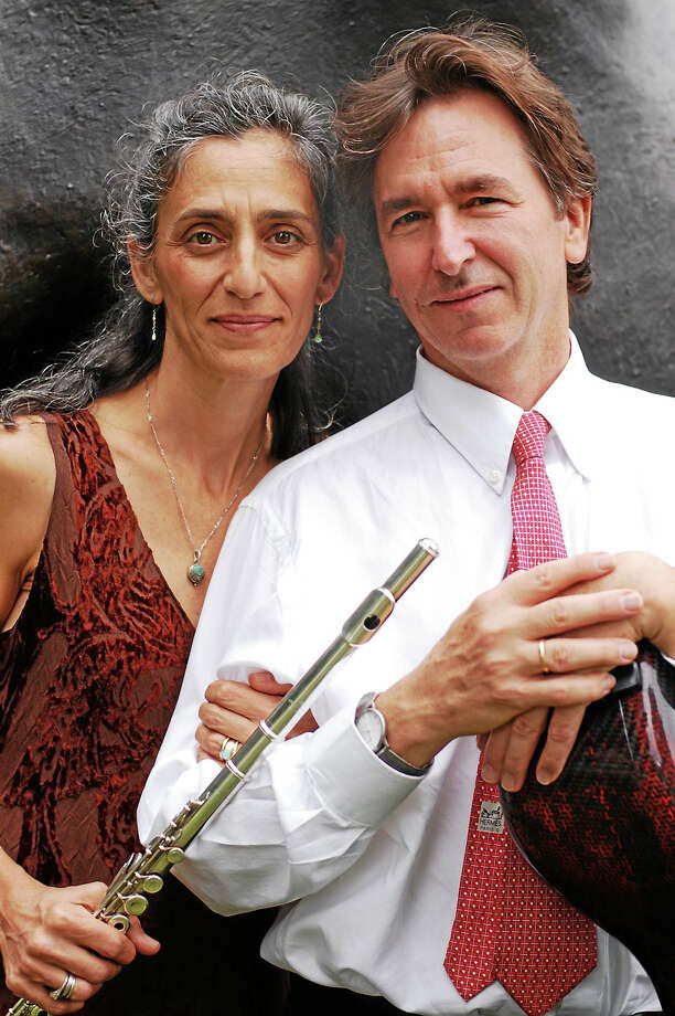 """Contributed photo Susan Rotholz, flutist, and Eliot Bailen, Sherman Chamber Ensemble artistic director and cellist, present """"Jazz in the Nave,"""" a  concert to benefit the Kent Food Bank, Nov. 29. Photo: Journal Register Co."""