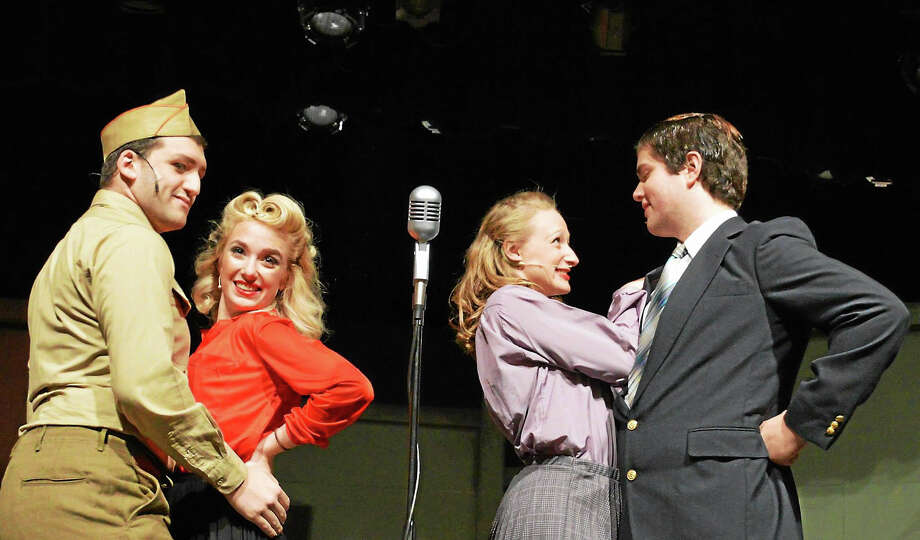 Photos by Kate K LuurtsemaFrom left Justin Normandin, Alexa Campagna, Becky Sawicki and Michael Newman in a scene from The 1940s Radio Hour at the Thomaston Opera House. Photo: Journal Register Co.