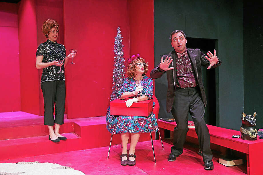 Photos by Richard Pettibone From left, Jenny Shuck, Jody Bayer, and Matt Austin in a scene from Bell, Book & Candle at TheatreWorks New Milford. Photo: Journal Register Co.