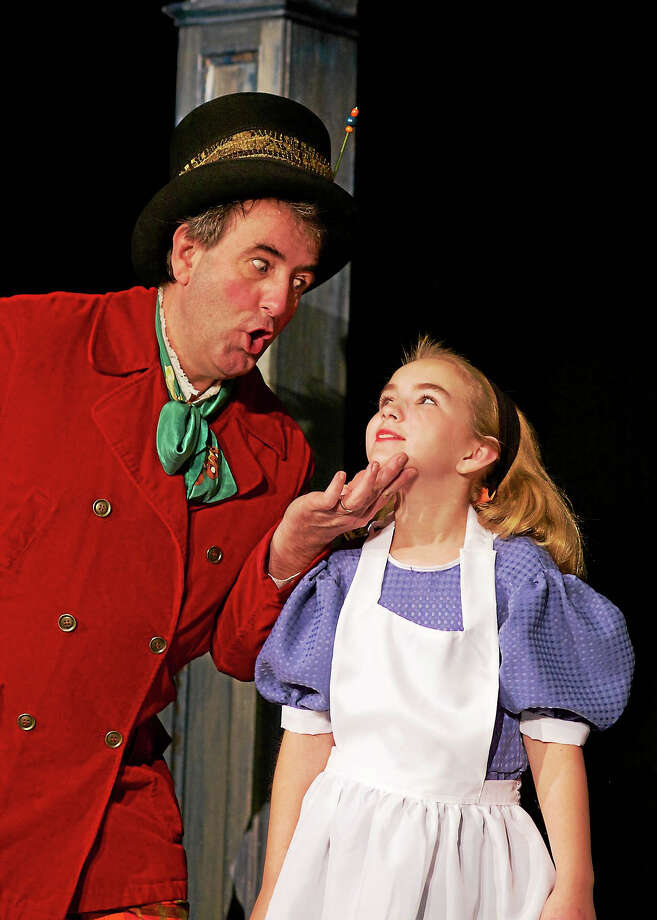 Photos by Richard Pettibone  Steven Stott and Faith Flanagan as Alice in Alice in Wonderland at the Sherman Playhouse. Photo: Journal Register Co.