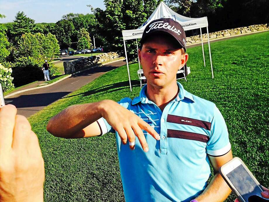 Cody Paladino shot a 3-under-par 69 to take a one-stroke lead through two rounds in the 81st Connecticut Open at The Patterson Club in Fairfield. Photo: Joe Morelli — Register