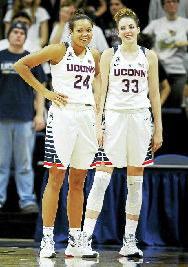 UConn's Napheesa Collier, left, and Katie Lou Samuelson stand together during a game earlier this season. Photo: Jessica Hill — The Associated Press File Photo  / FR125654 AP