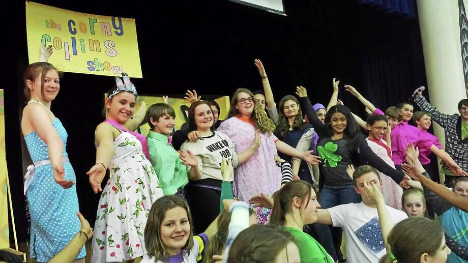 """Contributed photos Hairspray Jr. cast members sing """"You Can't Stop the Beat"""" during a recent dress rehearsal. The musical will be peformed this weekend in Torrington, by the middle school theater group. Photo: Journal Register Co."""