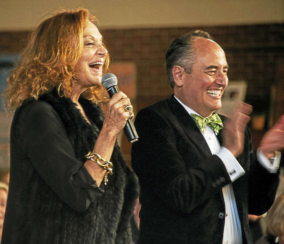 HVA's 25th anniversary auction broke all records as the community honored auction founder and environmental leader Diane von Furstenberg, here with auctioneer Tim Luke. Photo: Photo Courtesy HVA