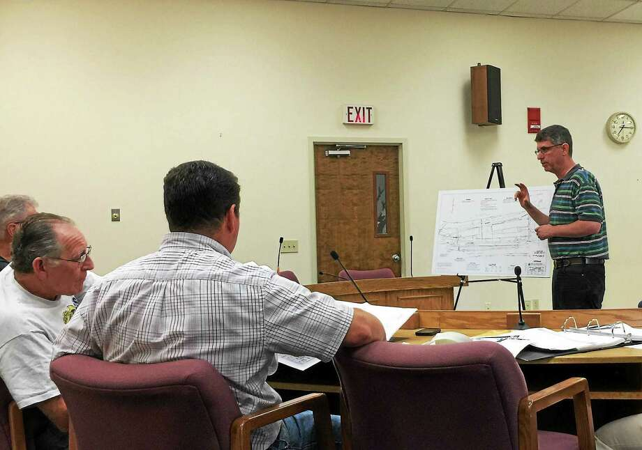 Marty Goldin, the owner of the prospective Mad River Lofts, speaks with the Planning and Zoning Commission Monday evening in Winsted. Photo: Ben Lambert — The Register Citizen