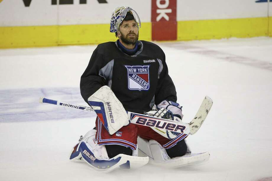 New York Rangers goalie Henrik Lundqvist is back at practice. Photo: Jae C. Hong — The Associated Press  / AP