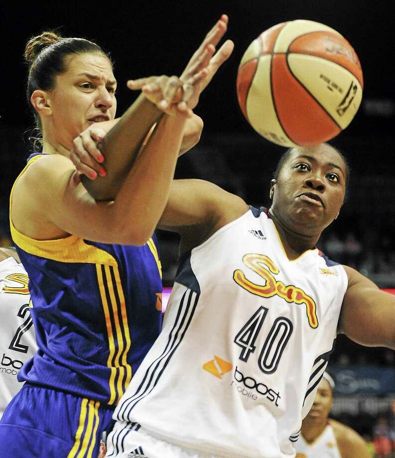 The Connecticut Sun's Shekinna Stricklen, right, is averaging 14.5 points in her last four games. Photo: Jessica Hill — The Associated Press File Photo  / FR125654 AP