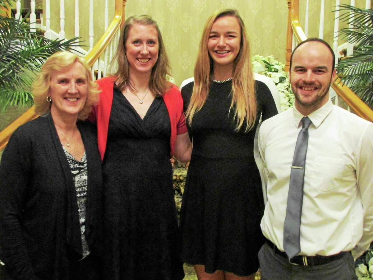 Torrington girls volleyball coaches at Sunday's banquet and lone senior from left: Assistant Coach Pat Strawson, Head Coach Christine Gamari, Caitlyn Cornish and Assistant Coach Kyle Phalen.