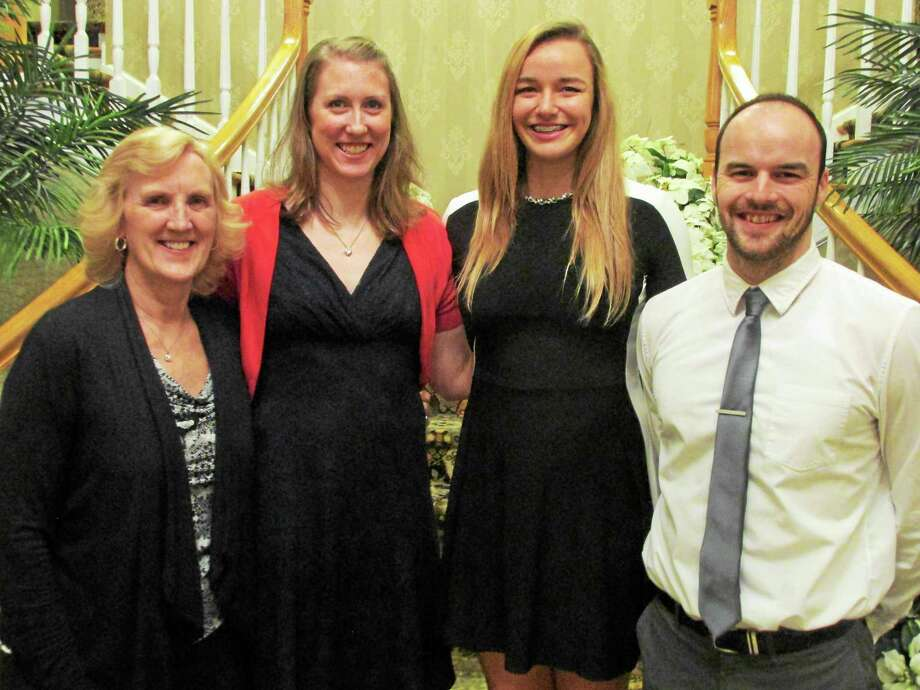 Torrington girls volleyball coaches at Sunday's banquet and lone senior from left: Assistant Coach Pat Strawson, Head Coach Christine Gamari, Caitlyn Cornish and Assistant Coach Kyle Phalen. Photo: Peter Wallace — Register Citizen