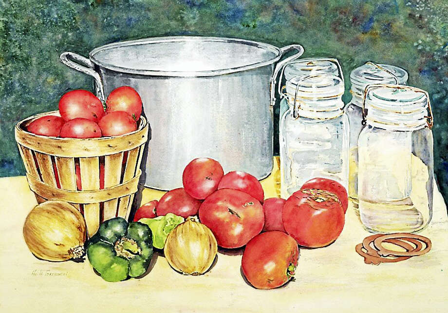 """The Watertown Art League is having their annual Fall Art Exhibition and Sale of fine art. The exhibit will be at the Old Town Hall in Woodbury on the corner of 5 Mountain Road and Main Street North, on October 21, 22, and 23.  Hours are from 1 pm to 5 pm on Friday, 10 am to 5 pm on Saturday, and  Sunday from 10am to 4 pm. The show includes  a variety of original art, in various media and sizes  that will be available for purchase. There will be a reception on Saturday the 22nd from 11 am to 3 pm.  All are welcome. For more information contact  May at 203-574-2835 or visit  www.walart.org/ Watercolor painting """"Canning Time"""" by Anita Gregorski Photo: CREDIT HERE"""
