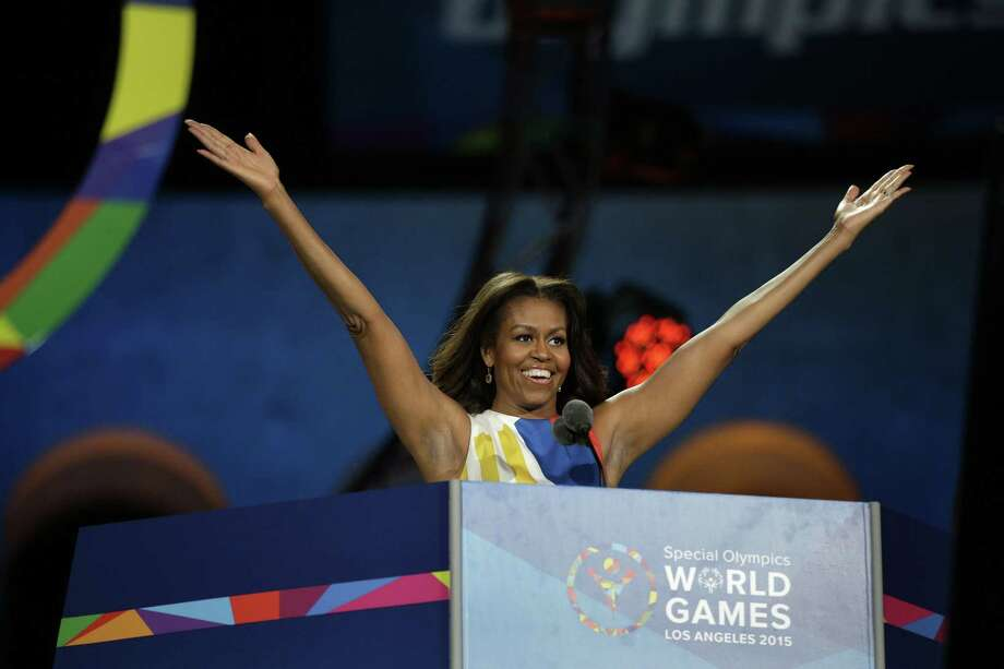 First Lady Michelle Obama declares the 2015 Special Olympics World Games officially open during the opening ceremony at the Los Angeles Memorial Coliseum on July 25, 2015 in Los Angeles. Photo: AP Photo/Jae C. Hong  / AP