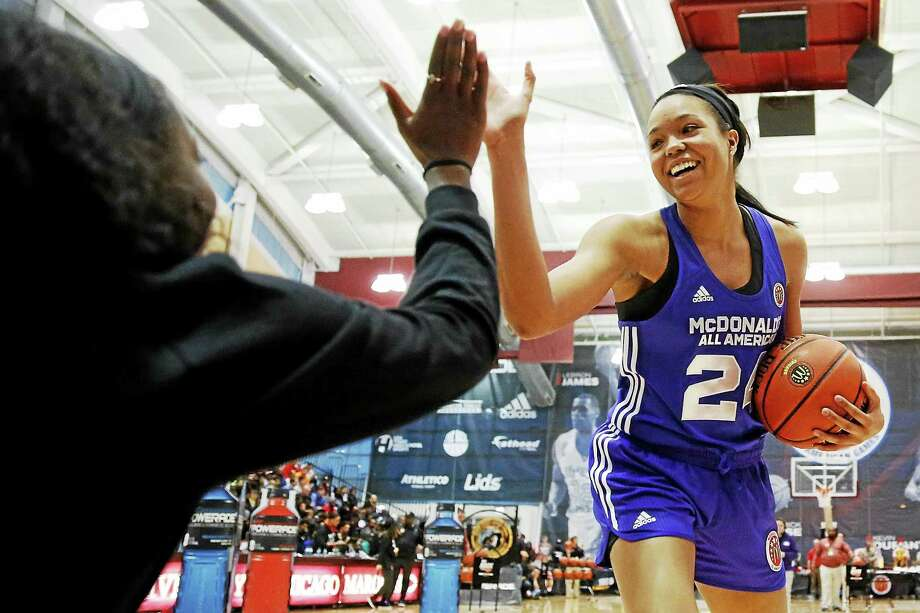 Napheesa Collier, shown here at the McDonald's All-American Jam Fest in March, helped lead the U.S. team to a win in the FIBA U19 World Championship gold-medal game. Photo: The Associated Press File Photo  / FR170974 AP