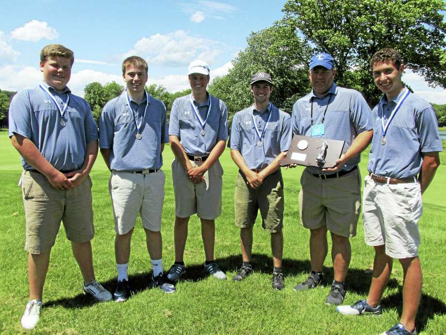 Photo by Peter WallaceLitchfield Coach Rob Gollow holds the CIAC Division IV second-place golf trophy surrounded by Cowboys, from left, Chandler Boucher, Chris Parsons, Nathan Leigh, Tom Simoncelli and Don Protzman. Photo: Journal Register Co.
