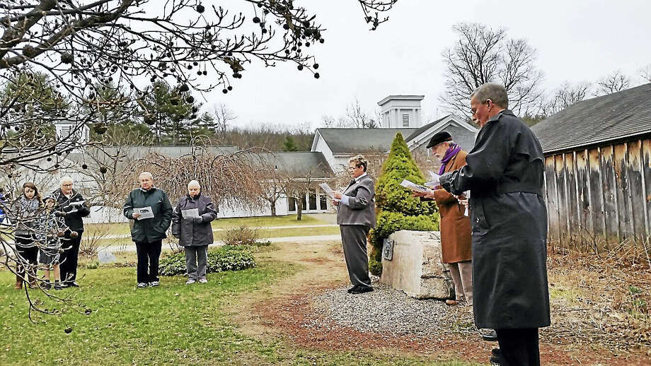 The Rev. Trudy Codd of the Pleasant Valley United Methodist Church gave a welcome to 42 parishioners from area churches at the Easter Sunrise Service at the Pleasant Valley United Methodist Church's Memorial Garden in Barkhamsted early Sunday morning. Photo: Photo By N.F. Ambery