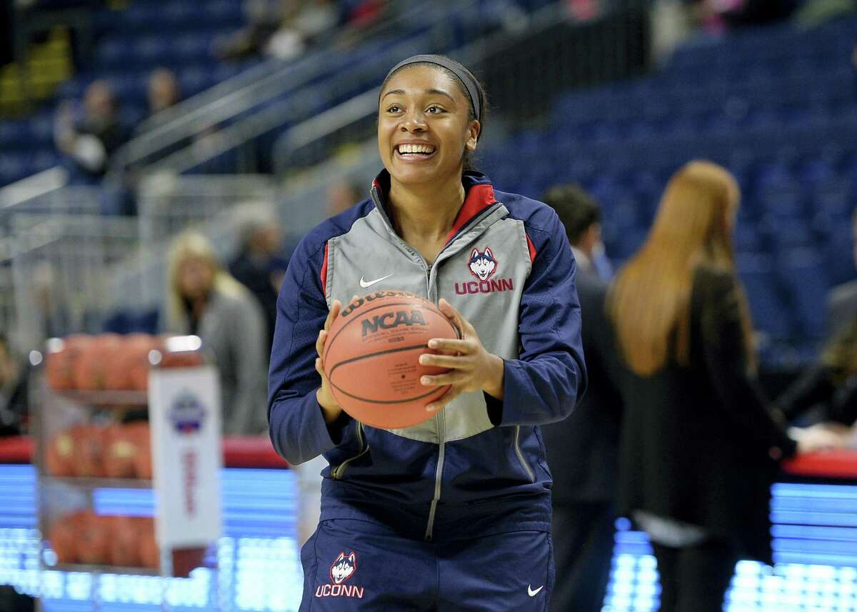 UConn's Morgan Tuck warms up before Saturday's game against Mississippi State.