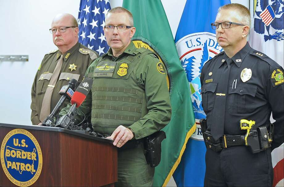 During a press conference at the U.S. Border Patrol office in Sumas, Wa., Friday, March 20, 2015, Whatcom County Sheriff Bill Elfo, left, Chief Patrol Agent Dan M. Harris, Jr.and Sumas Police Chief Chris Haugen, discuss the shooting death of a  Canadian man by a U.S. Border Patrol agent in Sumas Thursday. (AP Photo/The Bellingham Herald, Philip A. Dwyer) Photo: AP / The Bellingham Herald