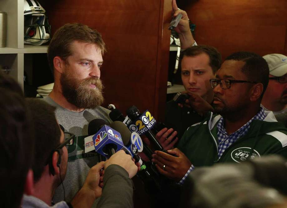New York Jets quarterback Ryan Fitzpatrick talks to the media after practice at the team's facility on Wednesday in Florham Park, N.J. Photo: Rich Schultz — The Associated Press  / FR27227 AP