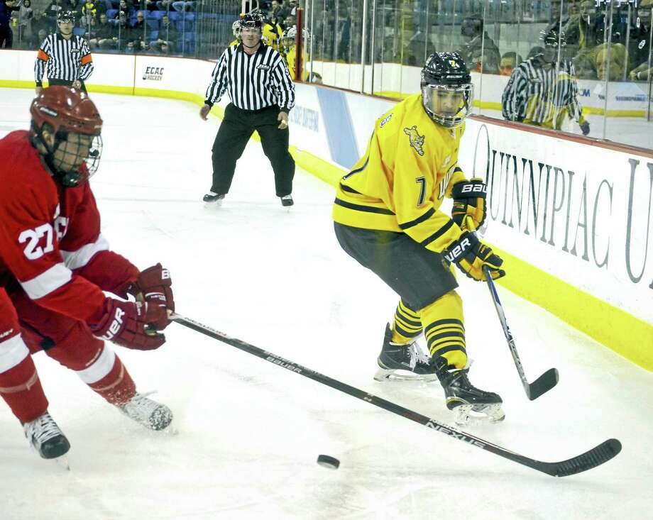 Quinnipiac forward Sam Anas, shown here during the ECAC Hockey quarterfinals, said he's unsure what his status will be when the Bobcats open the East Regional against RIT on Saturday. Photo: Register File Photo
