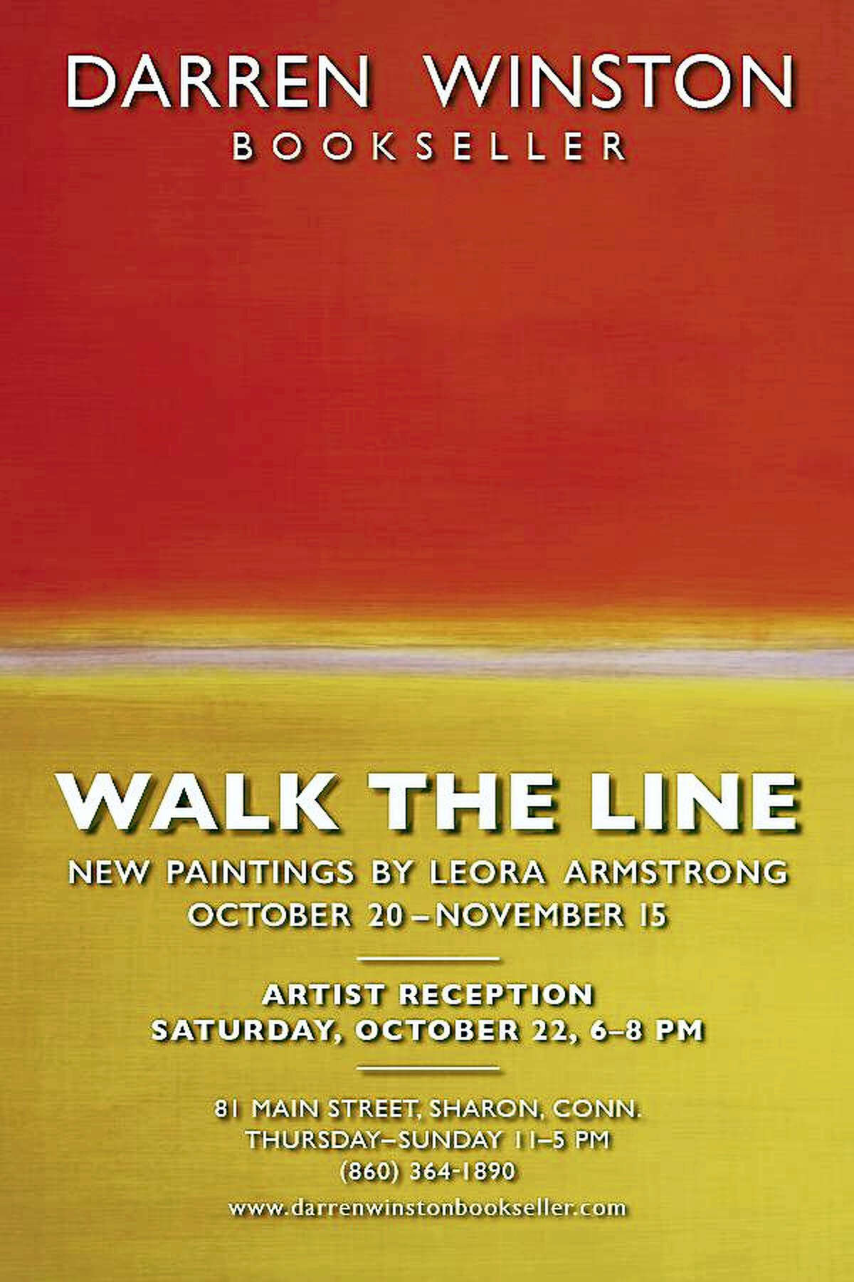 Contributed photo Darren Winston Bookseller's new show, Walk the Line, features paintings by Leora Armstrong.