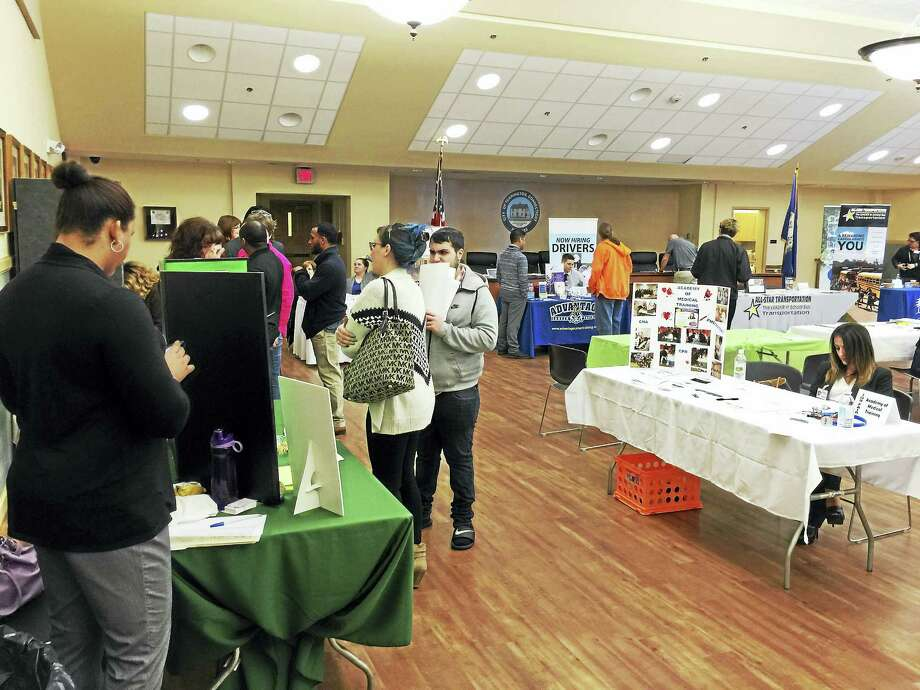 Job seekers took part in the annual job fair organized by the Northwest Connecticut Chamber of Commerce this week. Photo: Ben Lambert -- The Register Citizen
