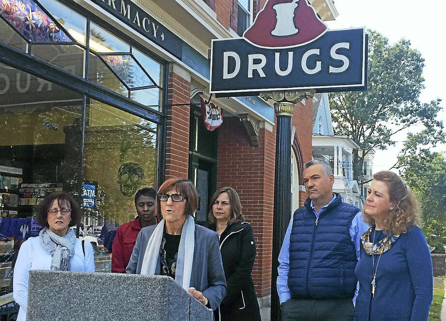 U.S. Rep. Rosa DeLauro, D-3, speaks Wednesday outside East Rock Pharmacy, 767 Orange St., New Haven. DeLauro said she plans to propose federal legislation aimed at curbing rising prescription drug prices. Photo: Wes Duplantier/The New Haven Register