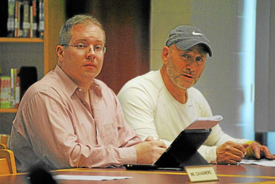 Torrington Board of Education members Daniel Thibault and Andrew Nargi discuss a $2.7 million grant from the state, given to the city, to renovate Torrington High School's football and track. Republicans are looking for candidates for Nargi's seat on the board after he resigned earlier this month. Photo: Register Citizen File Photo