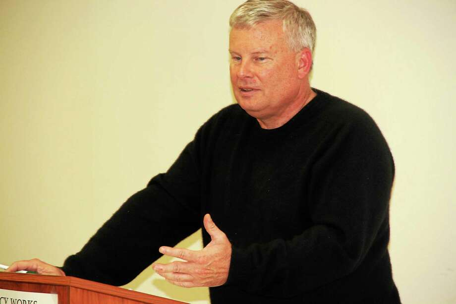 Town Manager Dale Martin gave a farewell state-of-the-town address Wednesday evening. Photo: Manon L. Mirabelli — The Register Citizen