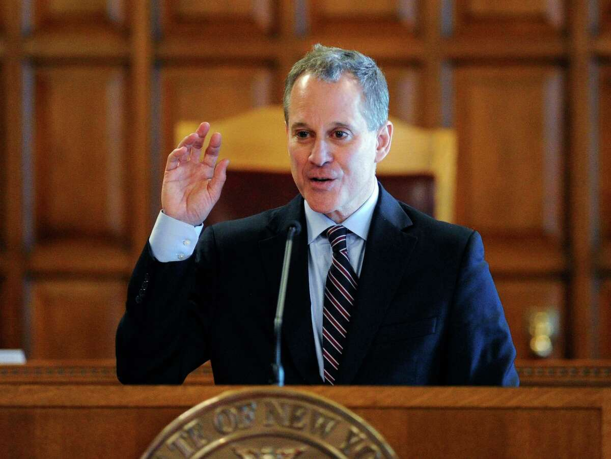 In this May 5 file photo, New York State Attorney Eric Schneiderman speaks during a Law Day event at the Court of Appeals in Albany.