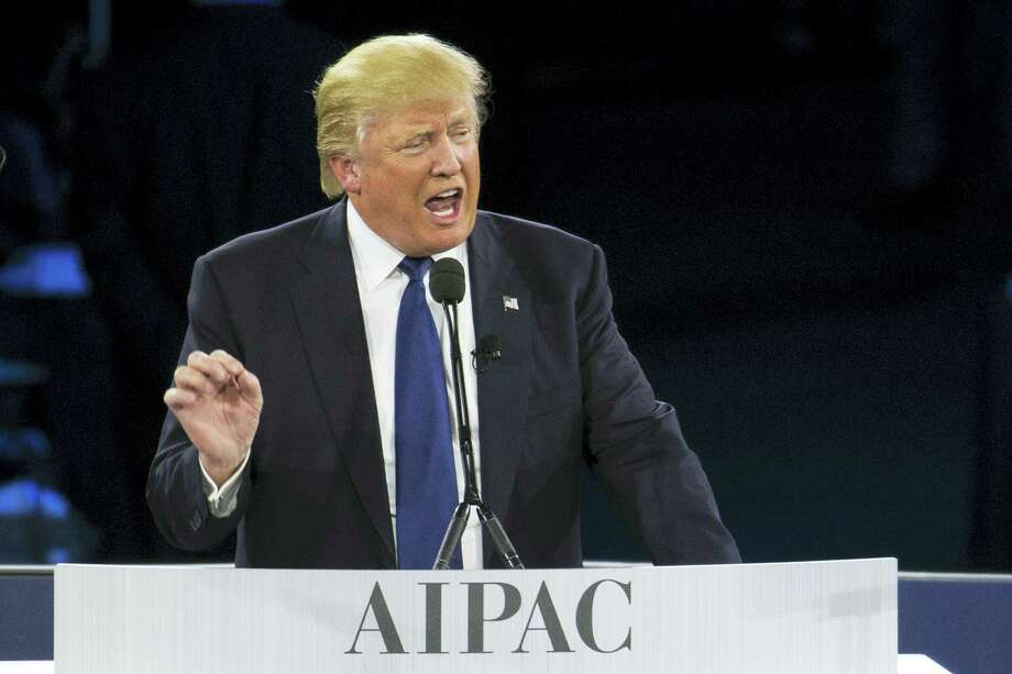 Republican presidential candidate Donald Trump speaks at the 2016 American Israel Public Affairs Committee (AIPAC) Policy Conference at the Verizon Center in Washington Monday. Photo: THE ASSOCIATED PRESS  / AP