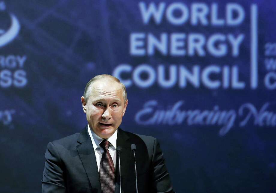 Russian President Vladimir Putin delivers a speech at the World Energy Congress in Istanbul on Monday, Oct. 10, 2016. Photo: AP Photo/Emrah Gurel  / Copyright 2016 The Associated Press. All rights reserved.