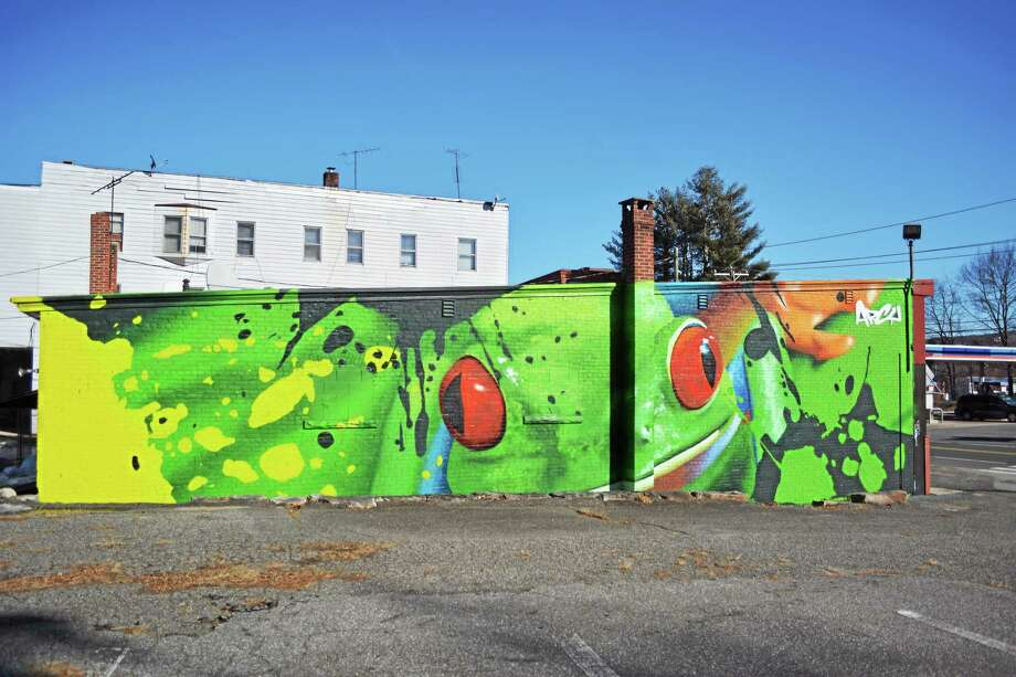 The mural is hard to miss at 118 Main St. in Winsted. Photo: Ryan Flynn — Register Citizen