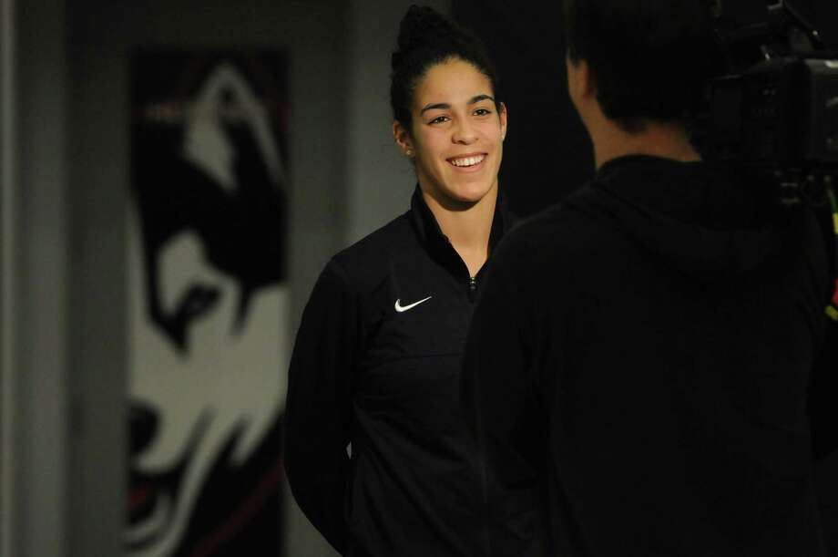 UConn freshman Kia Nurse speaks to the media after the NCAA tournament selection show Monday in Storrs. Photo: Michael McAndrews — The Hartford Courant  / The Hartford Courant