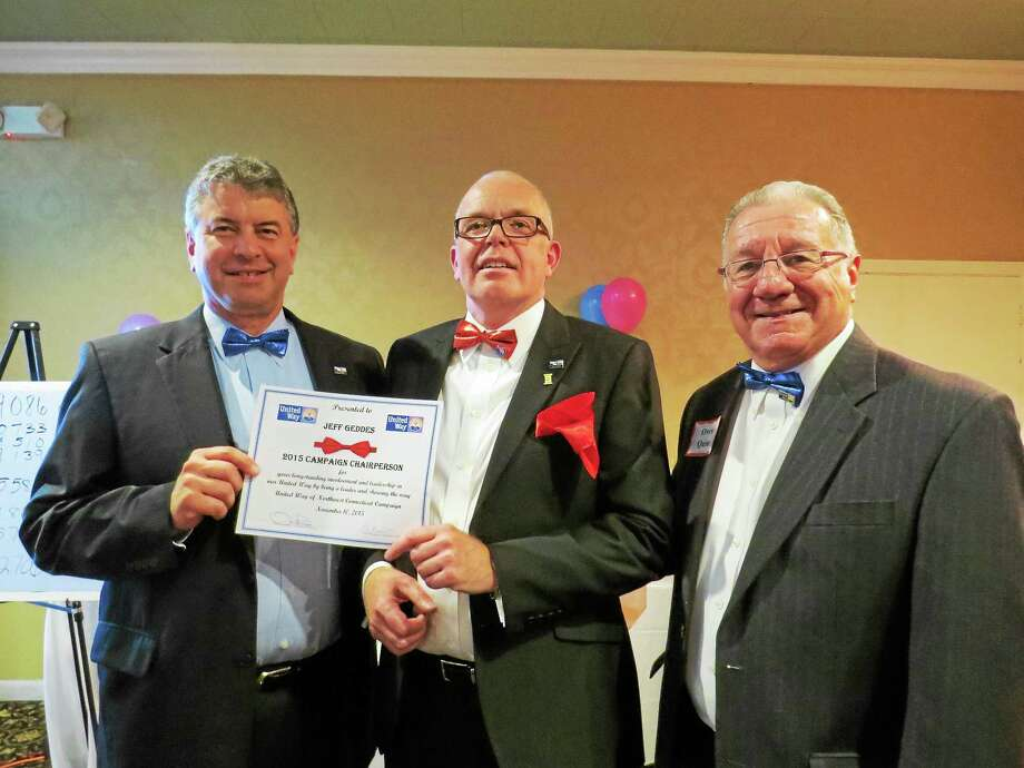 CONTRIBUTED PHOTO Paul Rougeot, Jeff Geddes and Owen Quinn celebrate the successful completion of the United Way of Northwest Connecticut's recent fundraising campaign. Photo: Journal Register Co.