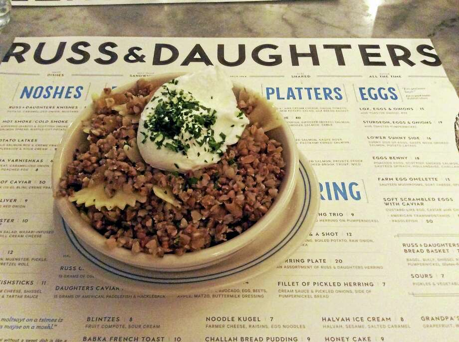 Russ & Daughters Café serves up kasha varnishkas topped with a poached egg. Photo: Stephen Fries — Special To The Register