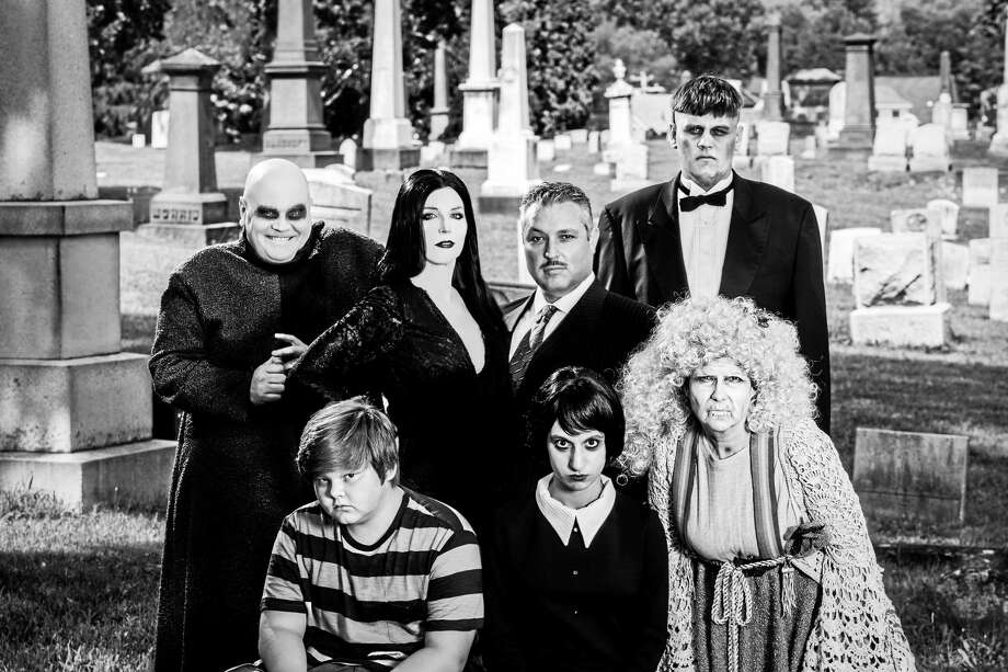 Photos by Lüke Haughwøut and Mandi Martini.  The Addams Family: front row, from left, Colby Morkan (Pugsley), Sydney Weiser (Wednesday), Susan Hackel (Grandma); back row, from left, Josh Newey (Uncle Fester), Katherine Ray (Morticia), John Farias (Gomez) and Peter Bard (Lurch). Photo: Journal Register Co.