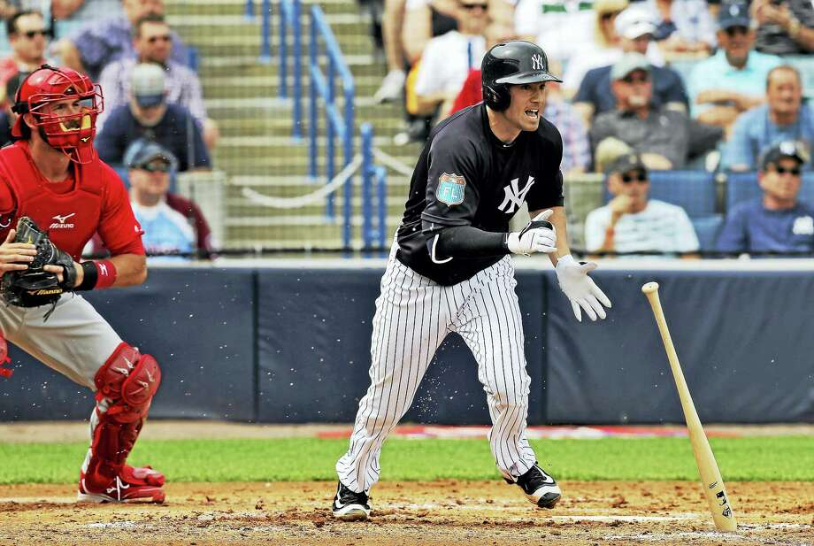 Tyler Wade hits an infield single during a spring training in March. Photo: The Associated Press File Photo  / AP