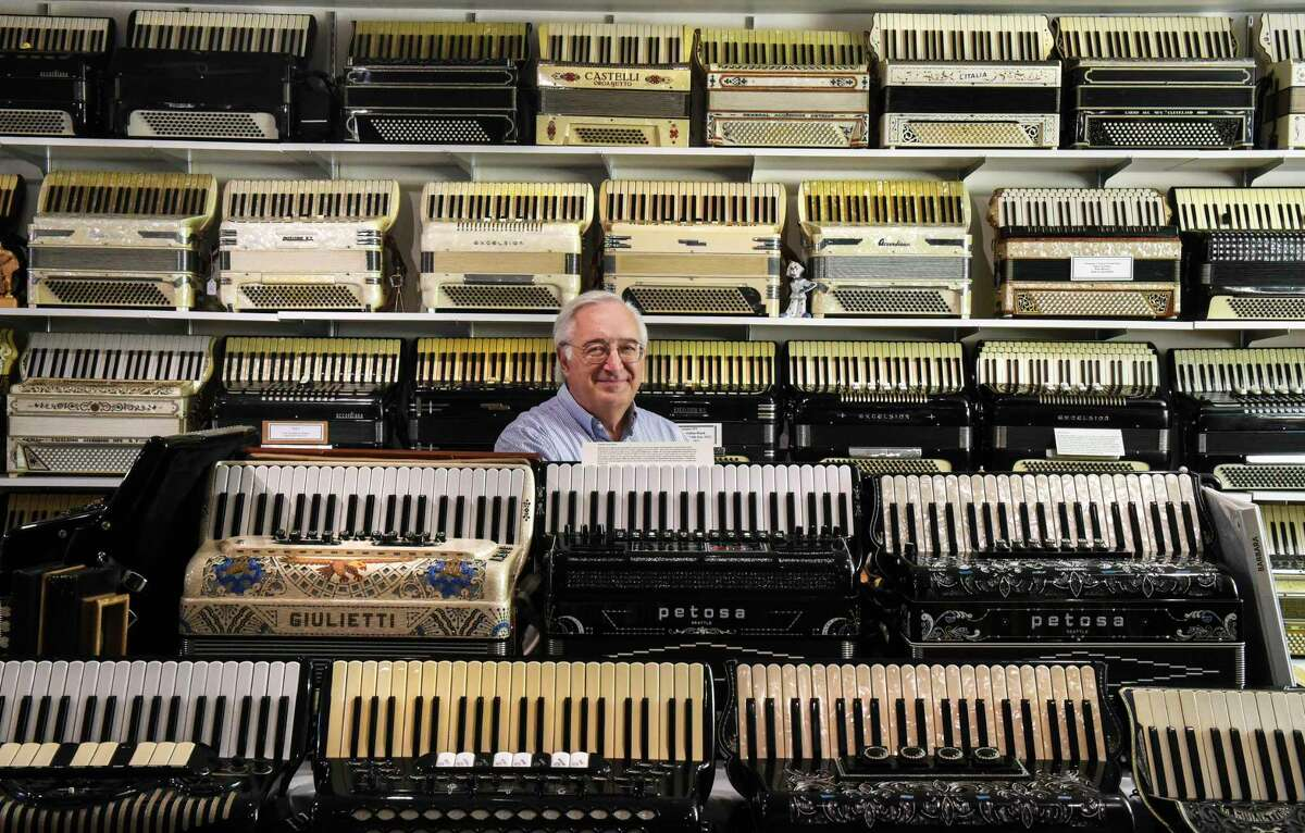 In this photo taken Oct. 7, Paul Ramunni, an accountant who always had a fascination with accordions, decided a few years ago to opened his very own New England Accordion Museum in Canaan.