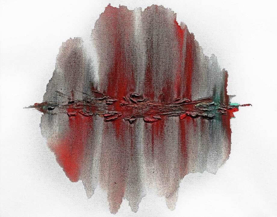 """Image courtesy of the artist Tyler Farmen, """"Red Oil,"""" oil on canvas. Photo: Journal Register Co."""