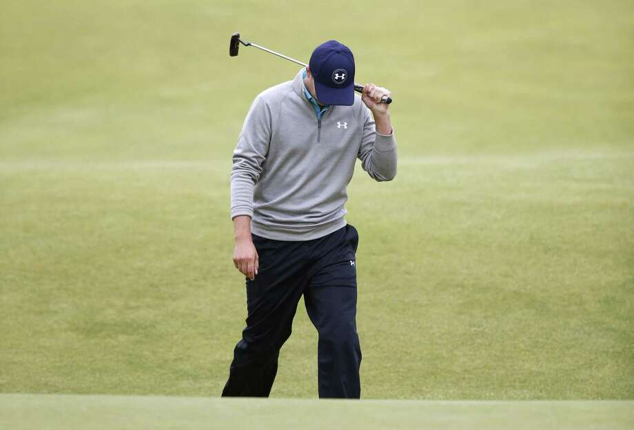 Jordan Spieth reacts after missing a putt on the 18th green in the final round at the British Open on Monday at the Old Course, St. Andrews, Scotland. Photo: Jon Super — The Associated Press  / AP