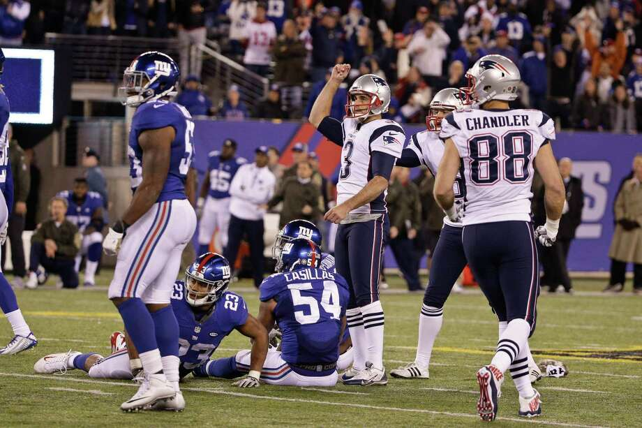 The Patriots' Stephen Gostkowski (3) celebrates after kicking the game-winning field goal against the Giants on Sunday. Photo: Julie Jacobson — The Associated Press  / AP