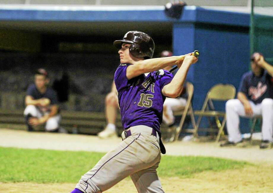Spencer Cookson of NWCT connects for an RBI in his team's win over Sports Palace Monday night at Fuessenich Park in Torrington. Photo: MARIANNE KILLACKEY—REGISTER CITIZEN  / 2015