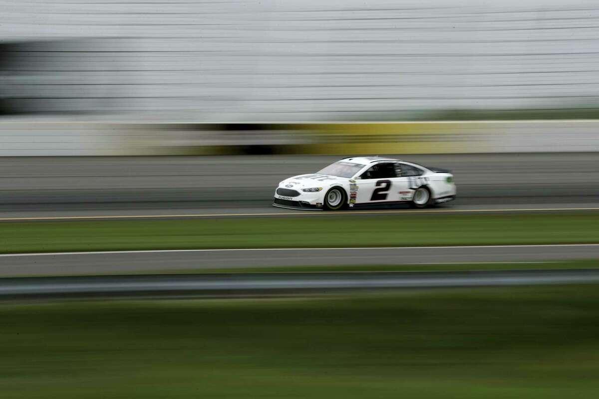 Brad Keselowski drives during qualifying for Sunday's race at Pocono Raceway.