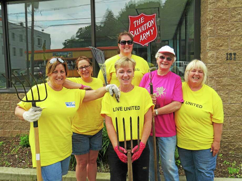 Above, from left, are Sandi Conforti, Gina Galpin, Colleen Suppa, 2015 Day of Caring chairwoman, Jodi Height, Sally Wabrek, Jeanne MacBurnie at the Salvaton Army's Winsted office. Photo: Contributed Photo