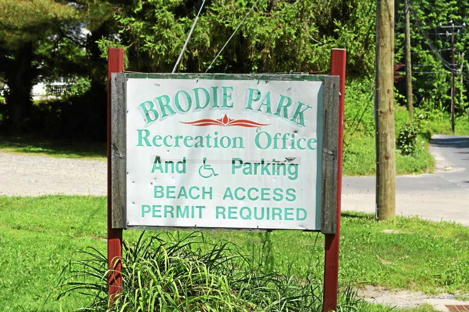 The sign at Brodie Park, where a young boy nearly drowned Tuesday. Photo: Ben Lambert — The Register Citizen