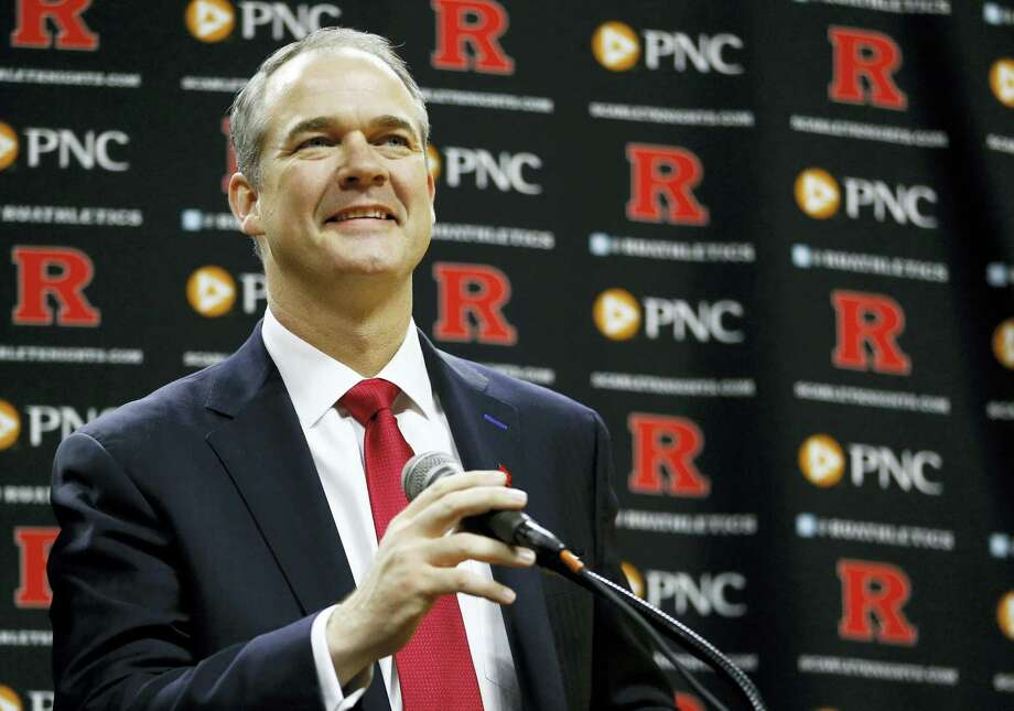Steve Pikiell speaks during a news conference where he was announced as the new head coach of the Rutgers men's college basketball team on Tuesday. The university's Board of Governors approved a five-year, $8 million contract. Pikiell succeeds Eddie Jordan, who was fired after a 7-25 season. Photo: Julio Cortez — The Associated Press  / AP