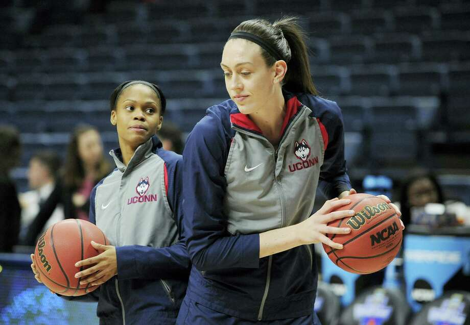 UConn's Moriah Jefferson, left, and Breanna Stewart talk during warmups before Monday's second round NCAA tournament game against Duquesne in Storrs. Photo: Jessica Hill — The Associated Press  / AP2016